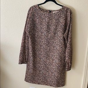Long sleeve cheetah print dress